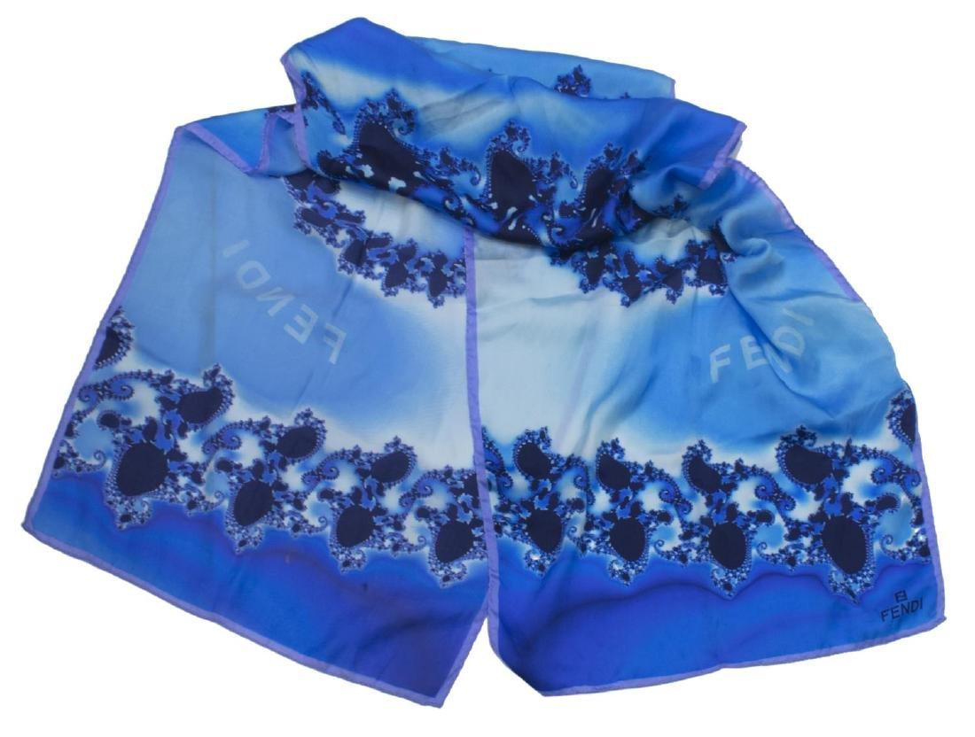 FENDI SILK SCARF WITH BLUE FRACTAL DESIGN