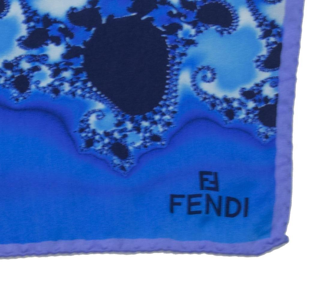 FENDI SILK SCARF WITH BLUE FRACTAL DESIGN - 2