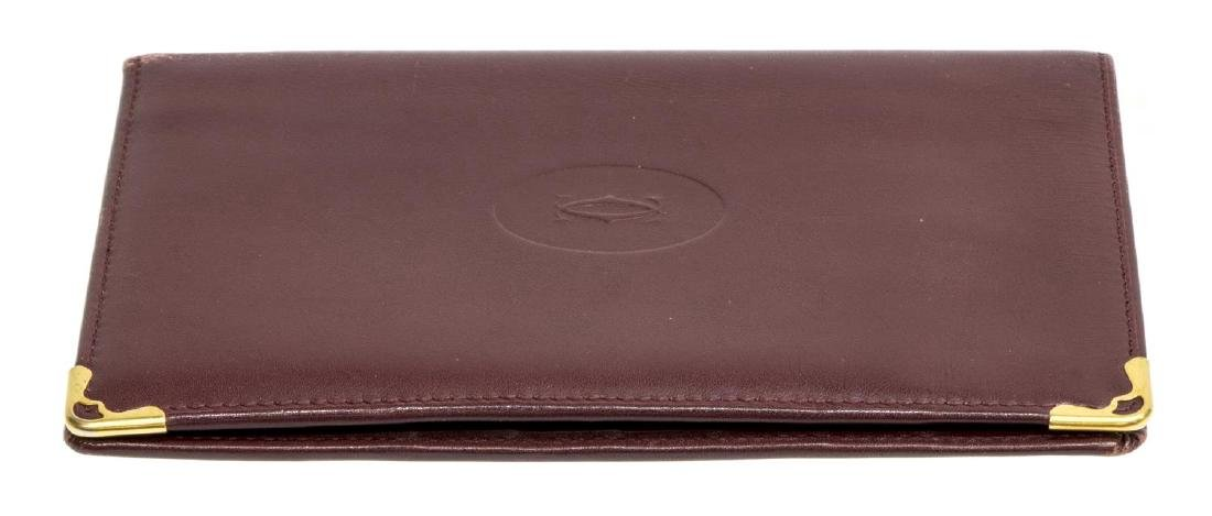 CARTIER BURGUNDY LEATHER PASSPORT COVER - 3