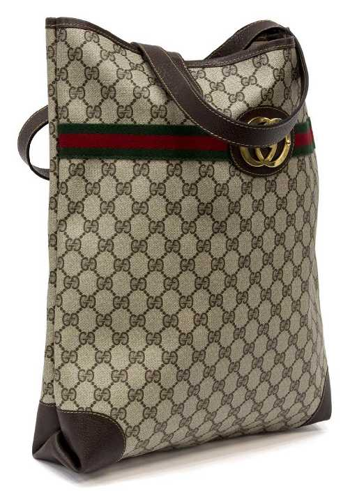 ac7d195a08a4fc VINTAGE GUCCI MONOGRAM COATED CANVAS WEB TOTE BAG. placeholder