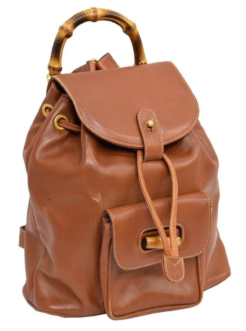 GUCCI BAMBOO HANDLE BROWN LEATHER MINI BACKPACK
