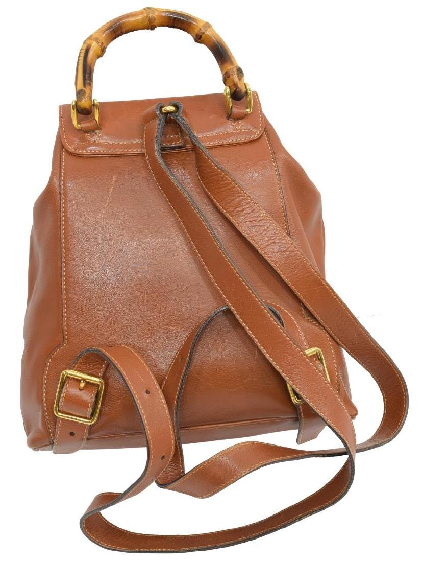 GUCCI BAMBOO HANDLE BROWN LEATHER MINI BACKPACK - 2