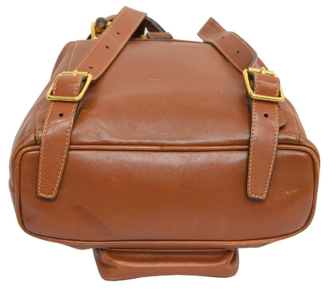GUCCI BAMBOO HANDLE BROWN LEATHER MINI BACKPACK - 3