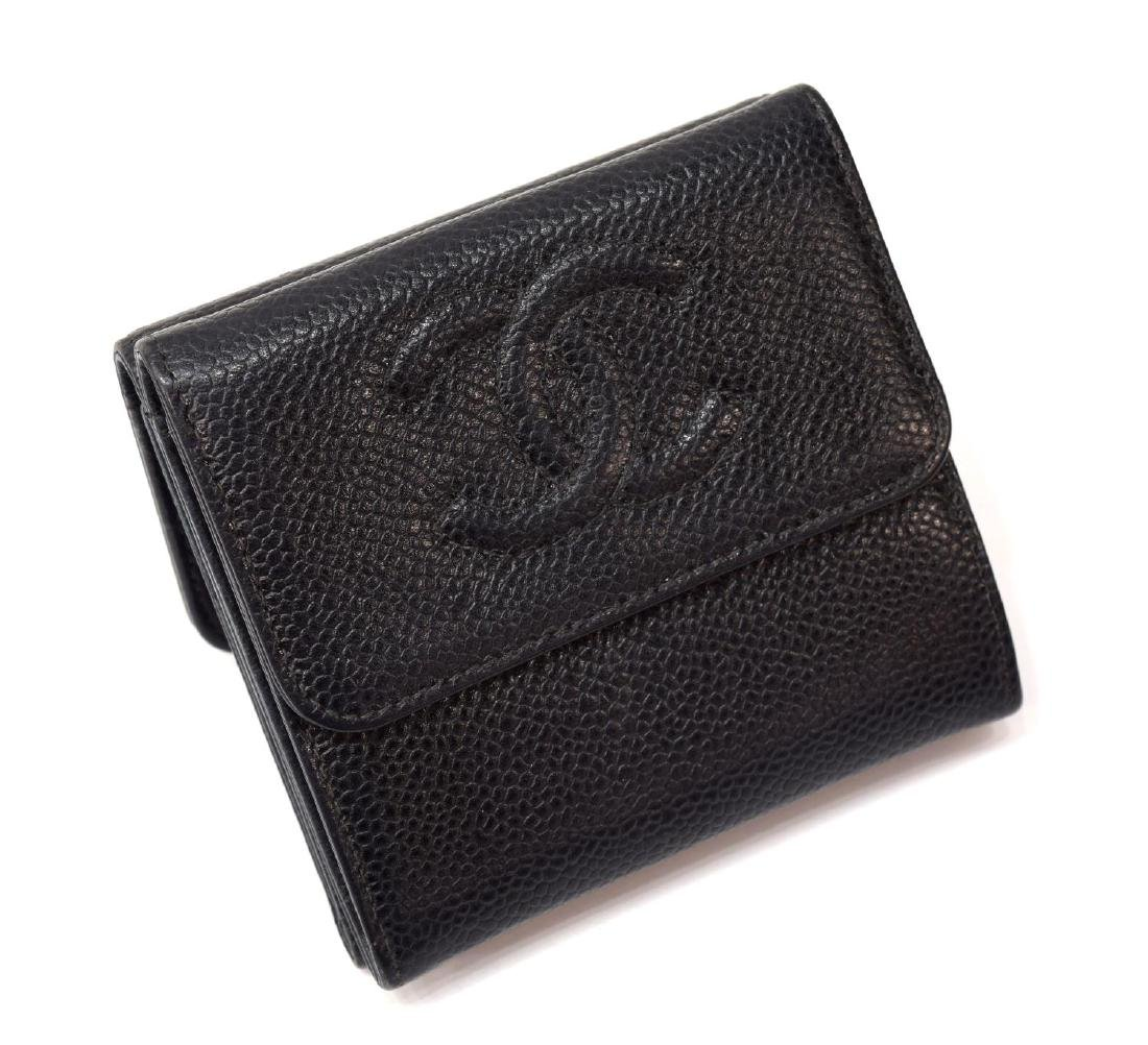 CHANEL BLACK CAVIAR LEATHER BIFOLD SQUARE WALLET