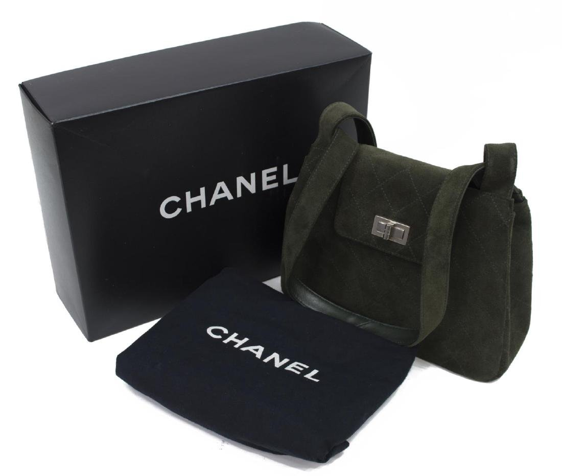 CHANEL GREEN QUILTED SUEDE SHOULDER BAG