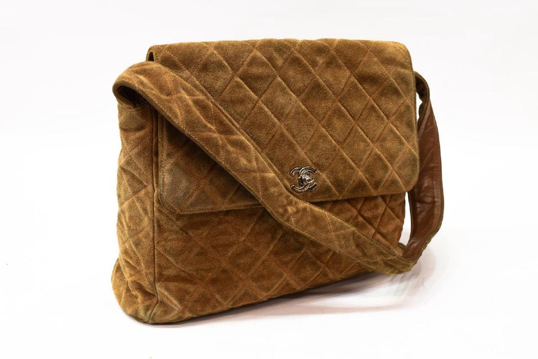 CHANEL QUILTED BROWN SUEDE SHOULDER BAG