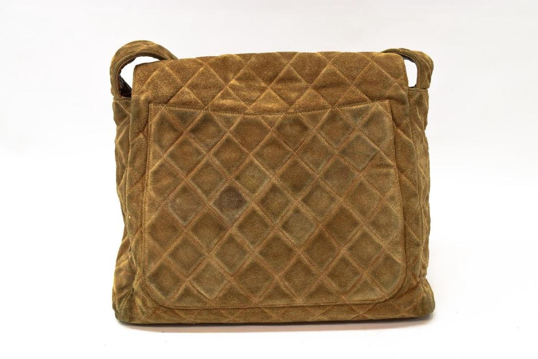 CHANEL QUILTED BROWN SUEDE SHOULDER BAG - 2