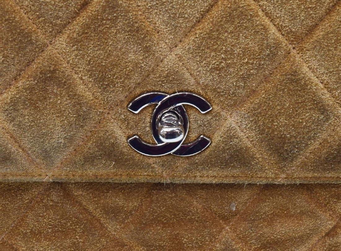 CHANEL QUILTED BROWN SUEDE SHOULDER BAG - 3