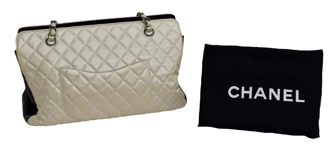 CHANEL METALLIC IVORY QUILTED LEATHER PURSE - 2