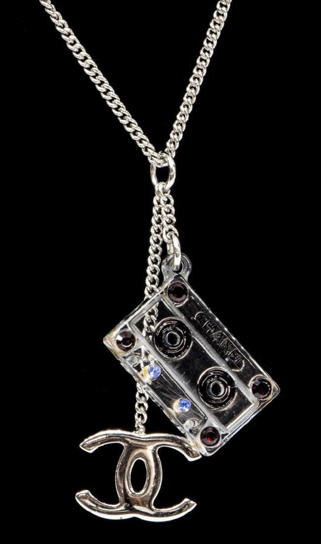 CHANEL 'CASSETTE TAPE' CC RHINESTONE NECKLACE - 2