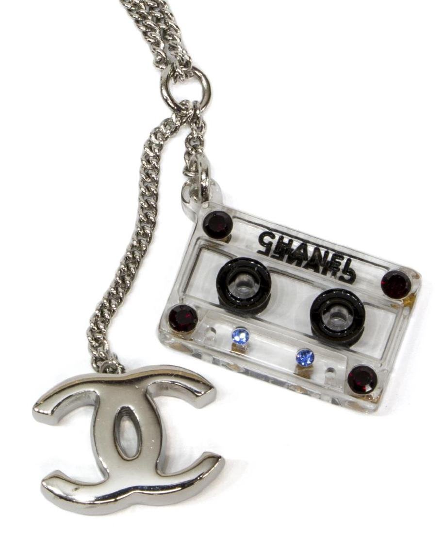 CHANEL 'CASSETTE TAPE' CC RHINESTONE NECKLACE - 4