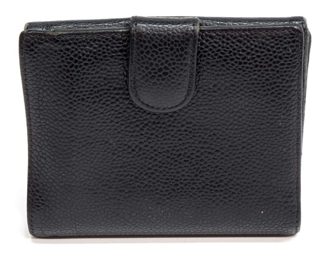 CHANEL BLACK CAVIAR LEATHER BIFOLD SQUARE WALLET - 2