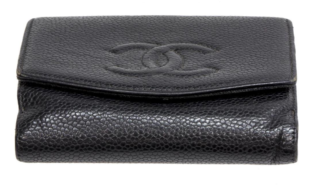 CHANEL BLACK CAVIAR LEATHER BIFOLD SQUARE WALLET - 3