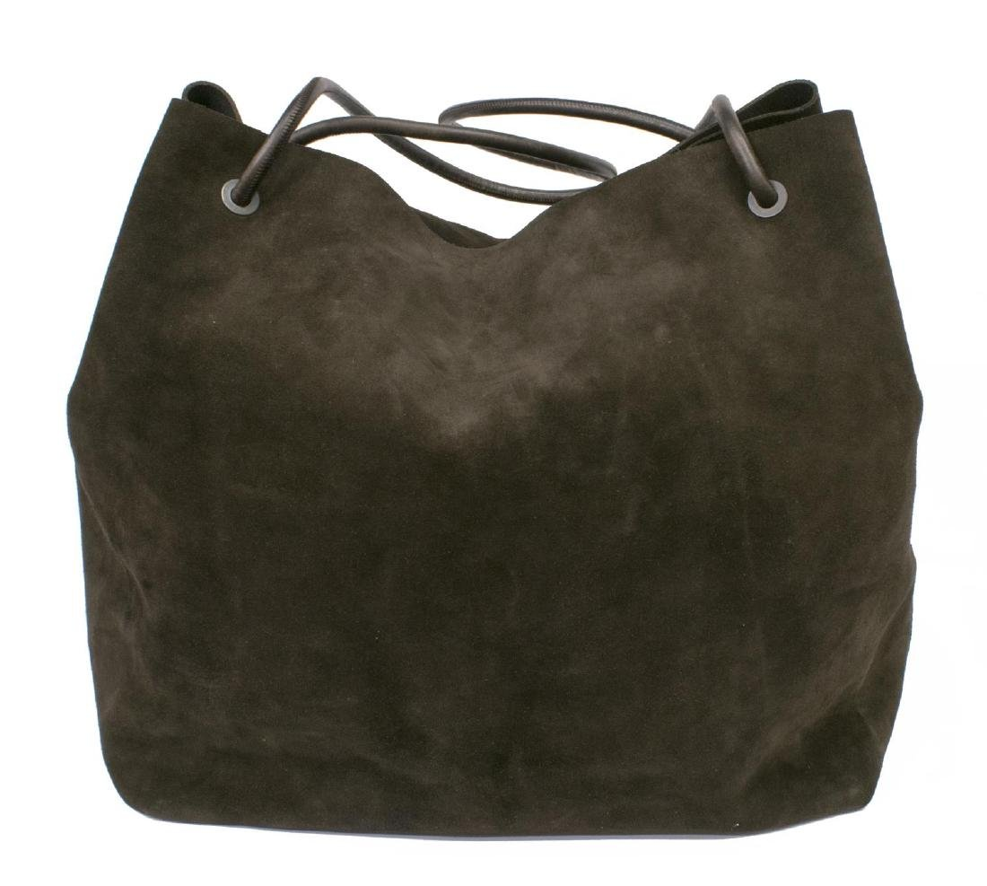 LARGE GUCCI BROWN SUEDE TOTE BAG - 2