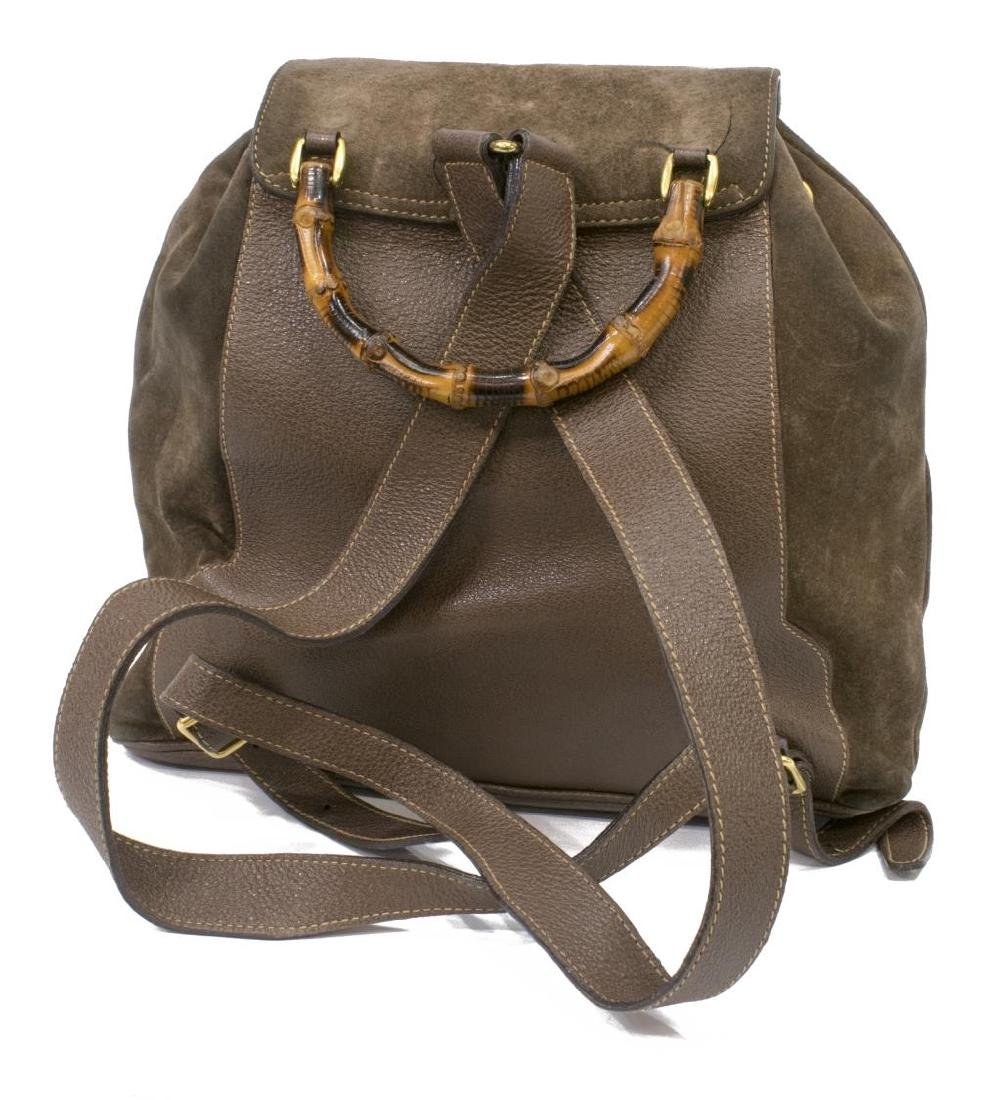 GUCCI BROWN SUEDE BAMBOO HANDLE BACKPACK - 2