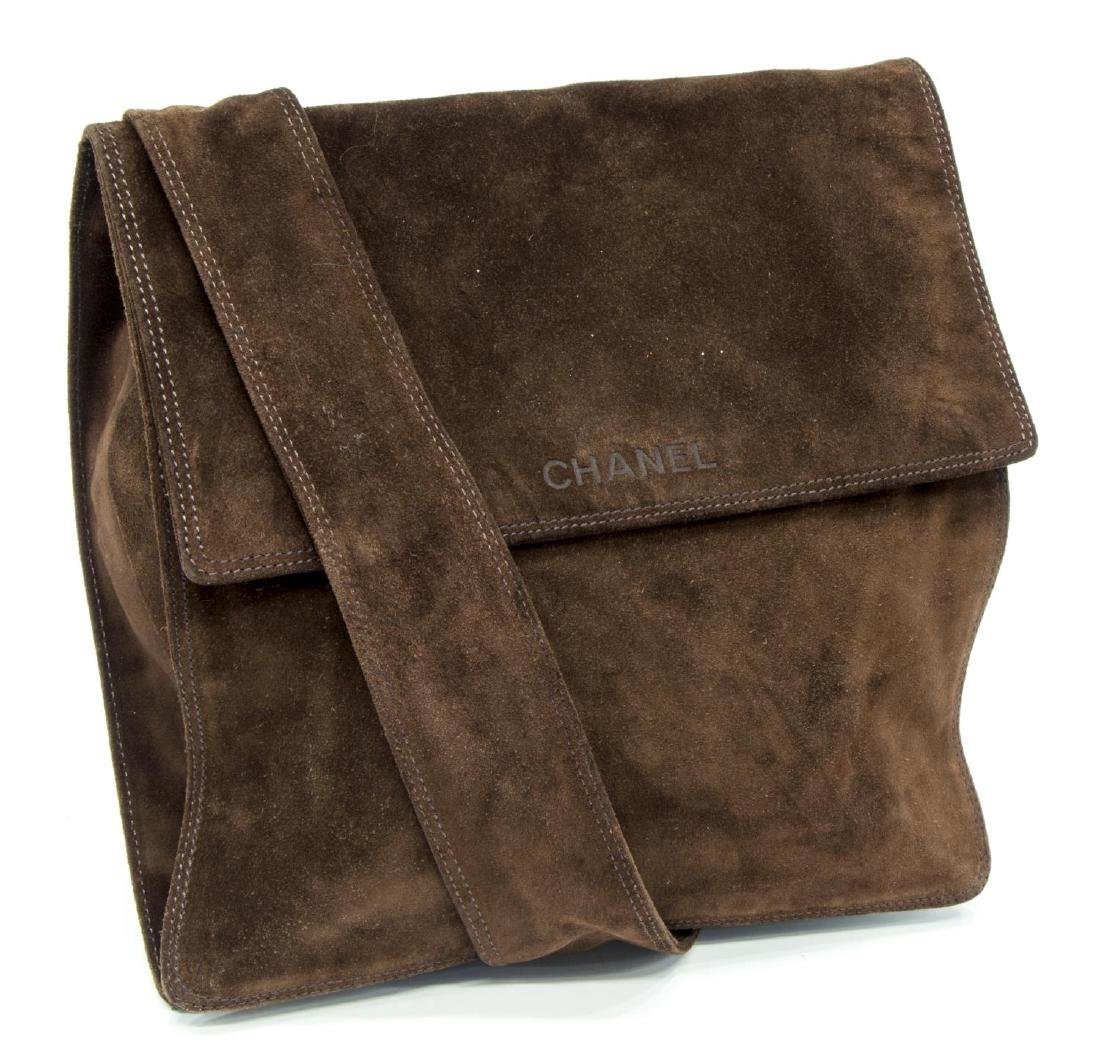 CHANEL BROWN SUEDE FLAP TOP CROSSBODY SHOULDER BAG