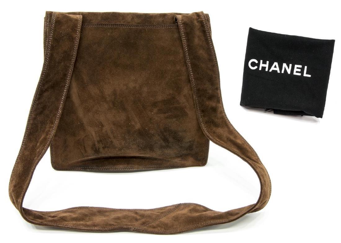 CHANEL BROWN SUEDE FLAP TOP CROSSBODY SHOULDER BAG - 2
