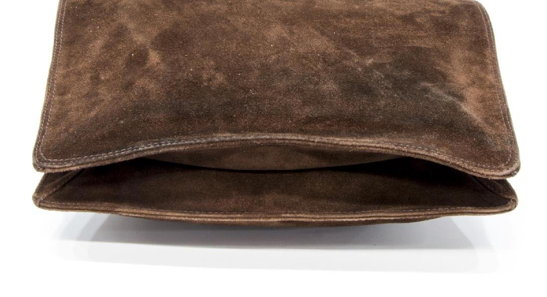 CHANEL BROWN SUEDE FLAP TOP CROSSBODY SHOULDER BAG - 3