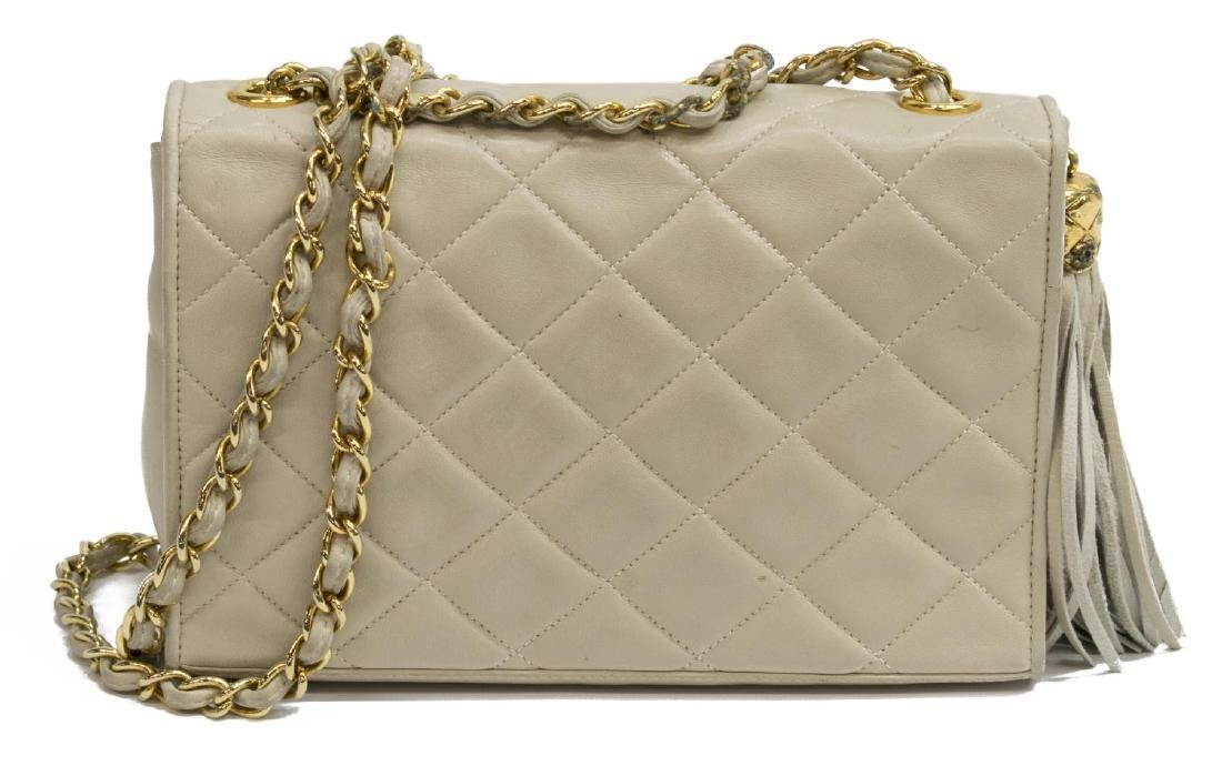 CHANEL QUILTED IVORY LEATHER TASEL FLAP BAG - 2