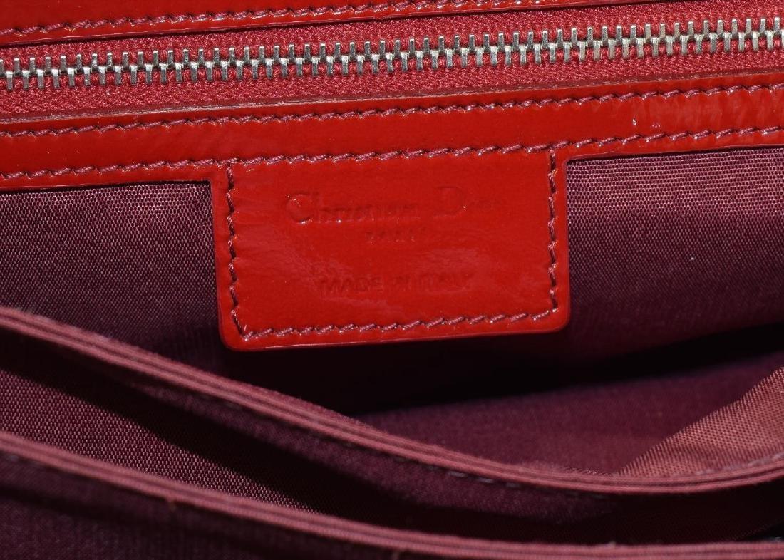 DIOR 'MISS DIOR' RED PATENT LEATHER SHOULDER BAG - 6