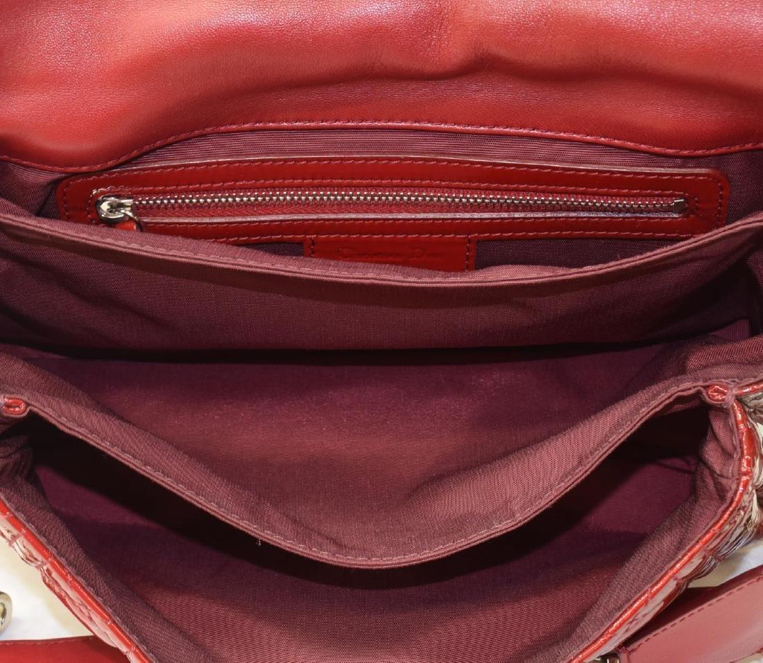 DIOR 'MISS DIOR' RED PATENT LEATHER SHOULDER BAG - 7