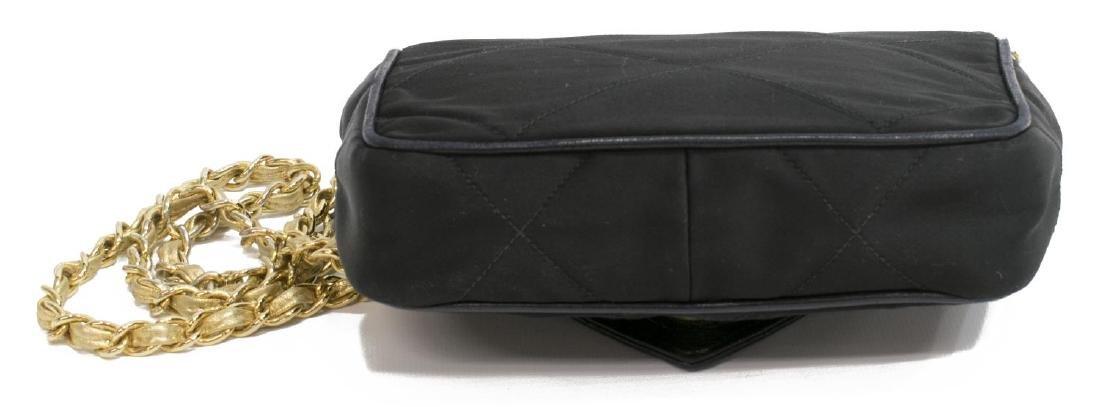 VINTAGE CHANEL BLACK QUILTED SATIN FLAP PURSE BAG - 3
