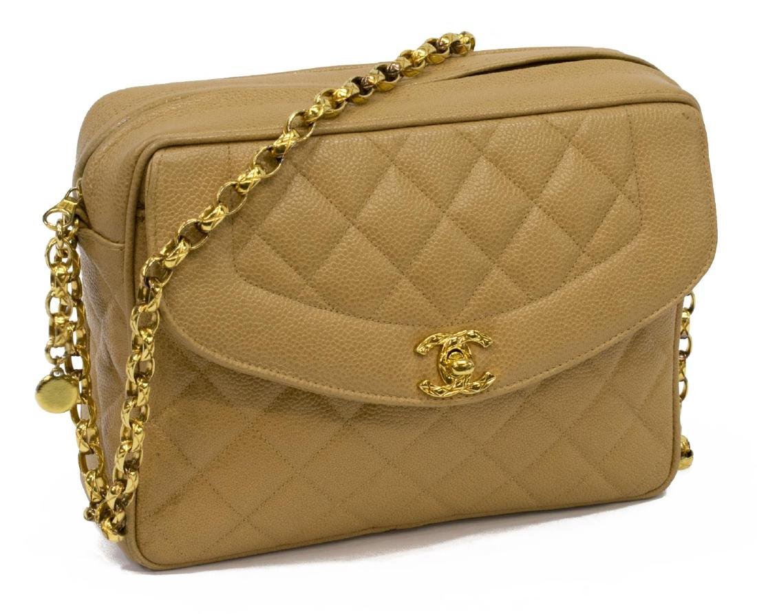 CHANEL BEIGE QUILTED LEATHER CAMERA CASE FLAP BAG