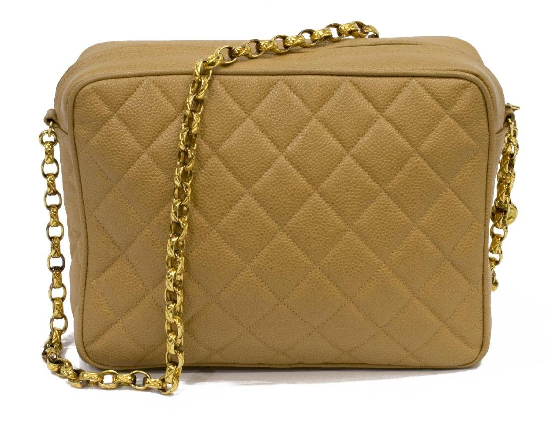 CHANEL BEIGE QUILTED LEATHER CAMERA CASE FLAP BAG - 2