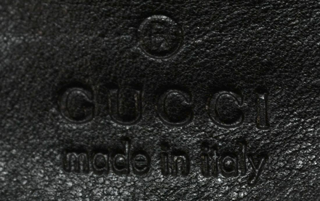 GUCCI BLACK MONOGRAM CANVAS LEATHER SHOULDER BAG - 4