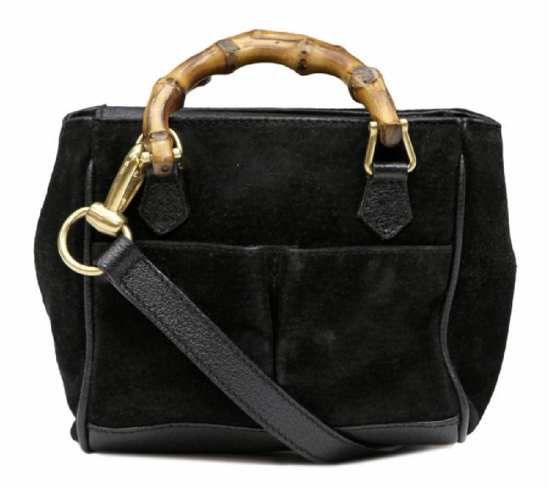 GUCCI BLACK SUEDE & BAMBOO MINI SHOULDER BAG