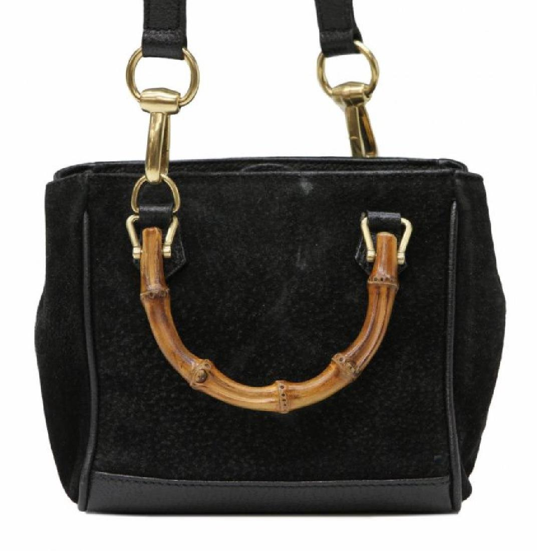GUCCI BLACK SUEDE & BAMBOO MINI SHOULDER BAG - 2