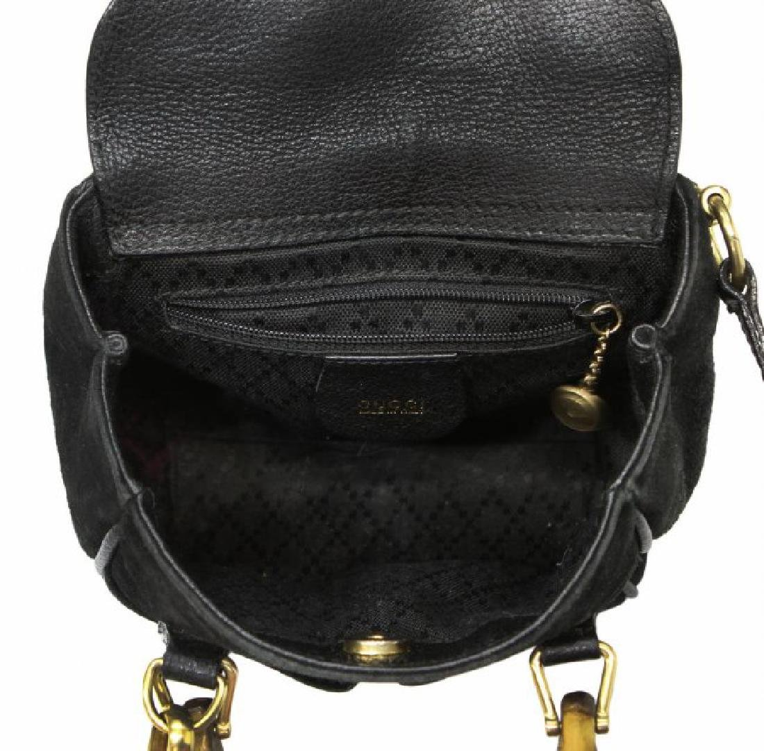 GUCCI BLACK SUEDE & BAMBOO MINI SHOULDER BAG - 4
