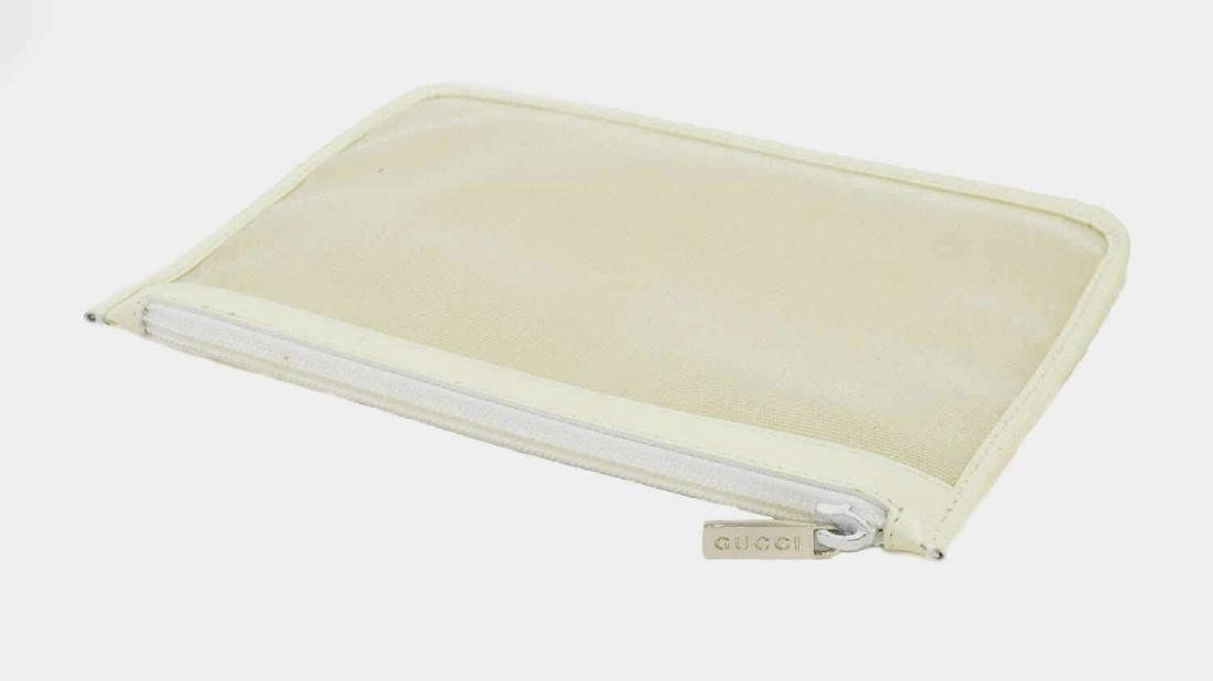 GUCCI WHITE LEATHER & MESH ACCESSORY POUCH