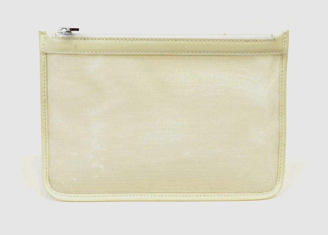 GUCCI WHITE LEATHER & MESH ACCESSORY POUCH - 2