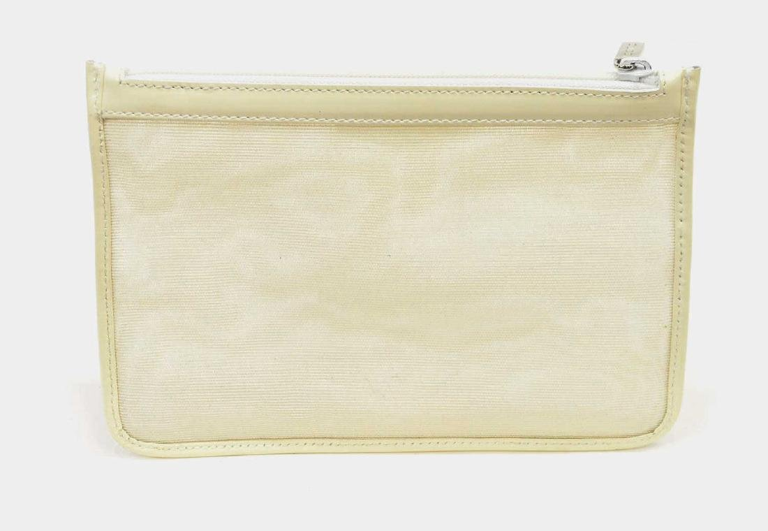 GUCCI WHITE LEATHER & MESH ACCESSORY POUCH - 3