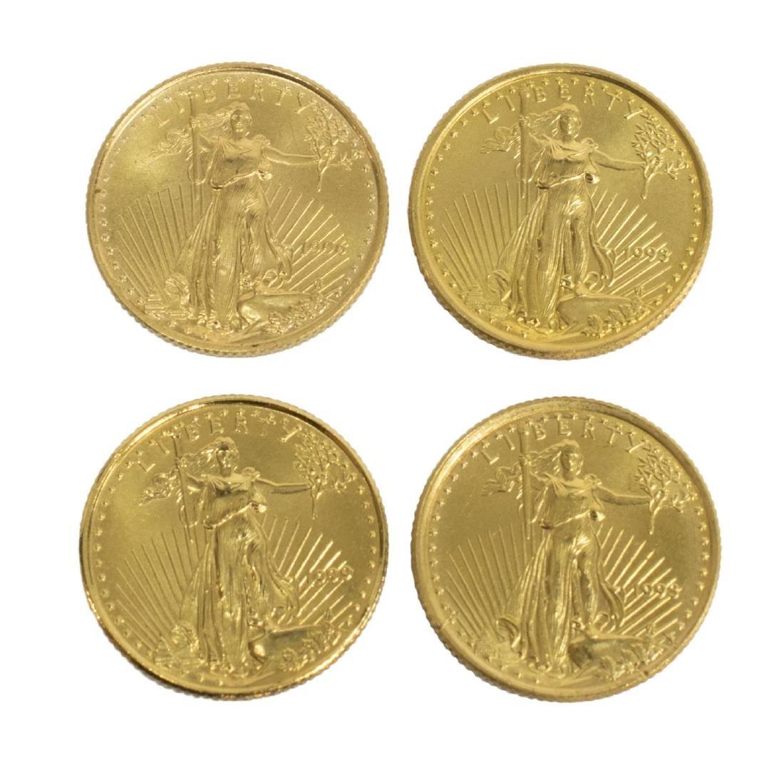 (4) U.S. $5 GOLD BULLION COINS