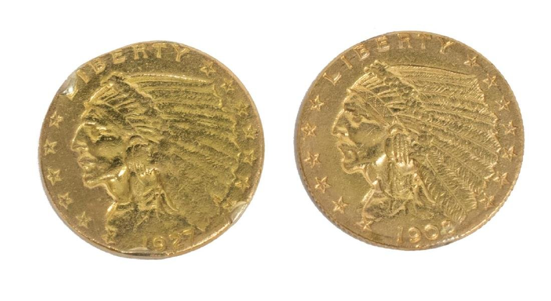 (2) U.S. 2.1/2 DOLLAR INDIAN HEAD GOLD COIN