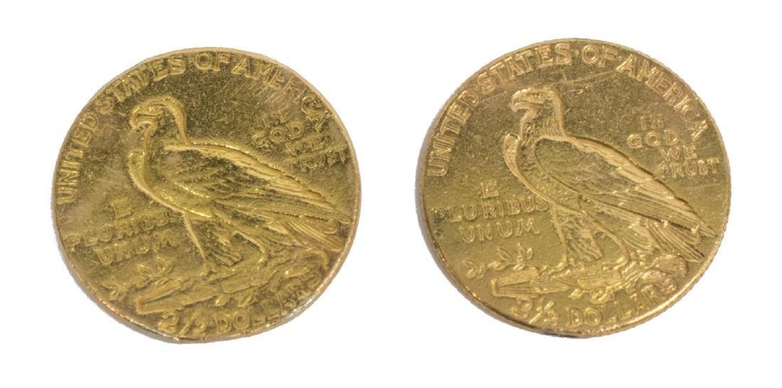 (2) U.S. 2.1/2 DOLLAR INDIAN HEAD GOLD COIN - 2