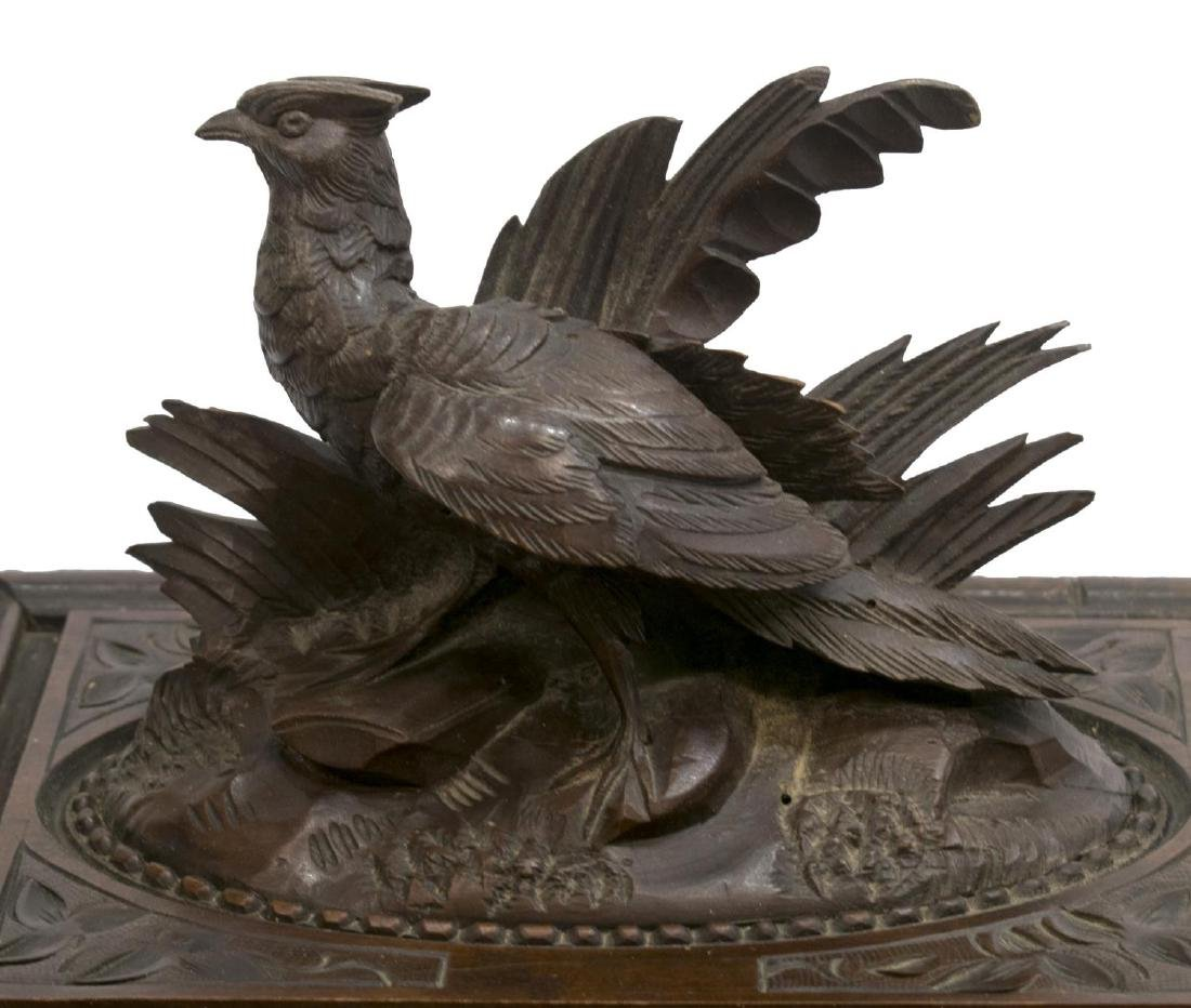 BLACK FOREST PHEASANT CARVED FITTED CIGAR BOX - 3