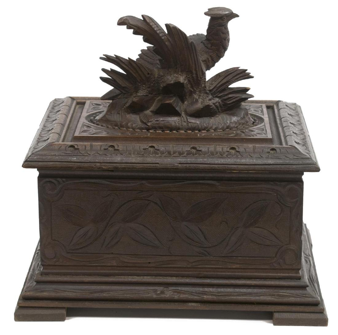 BLACK FOREST PHEASANT CARVED FITTED CIGAR BOX - 4