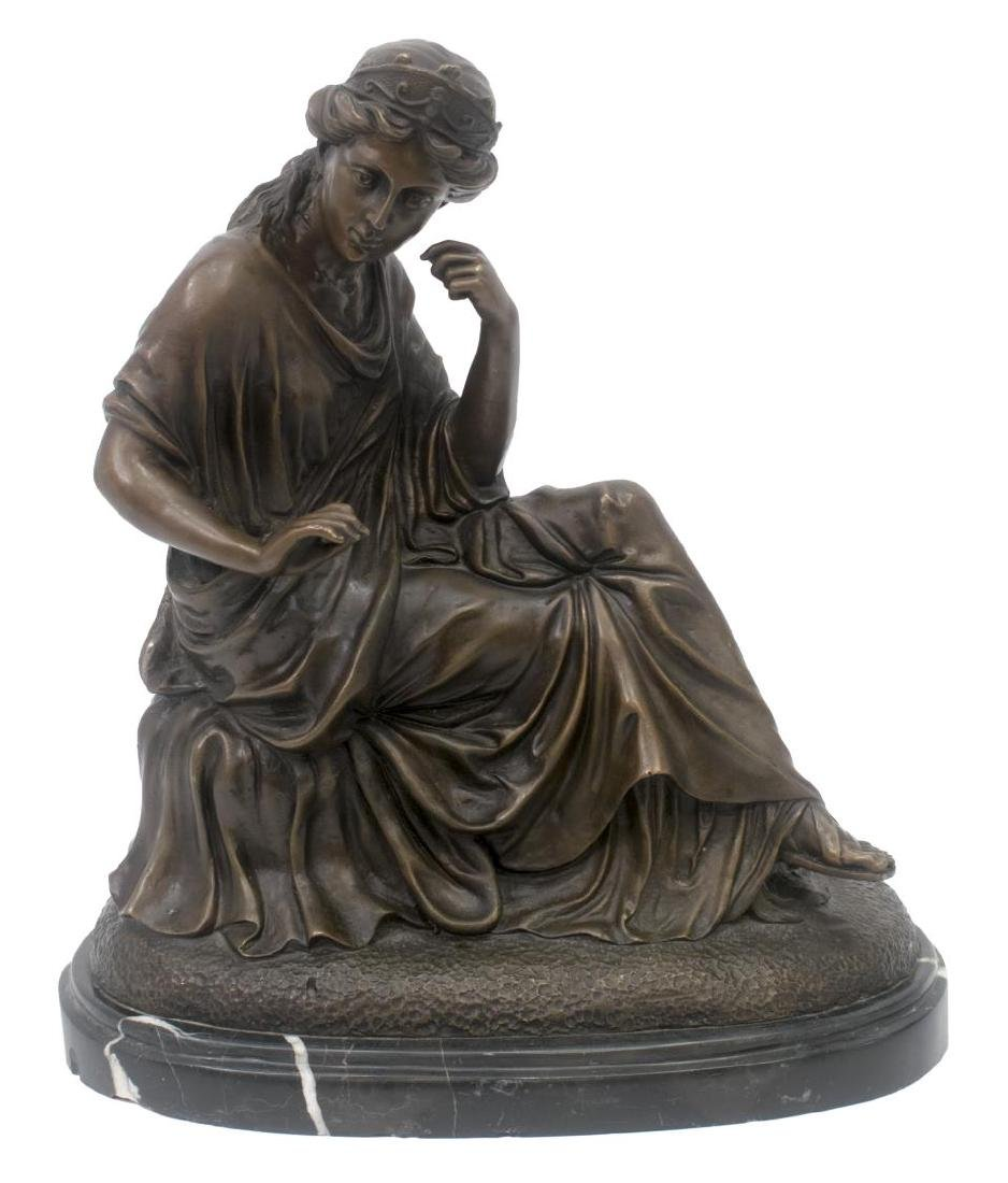 PATINATED BRONZE FIGURE, SEATED CLASSICAL BEAUTY