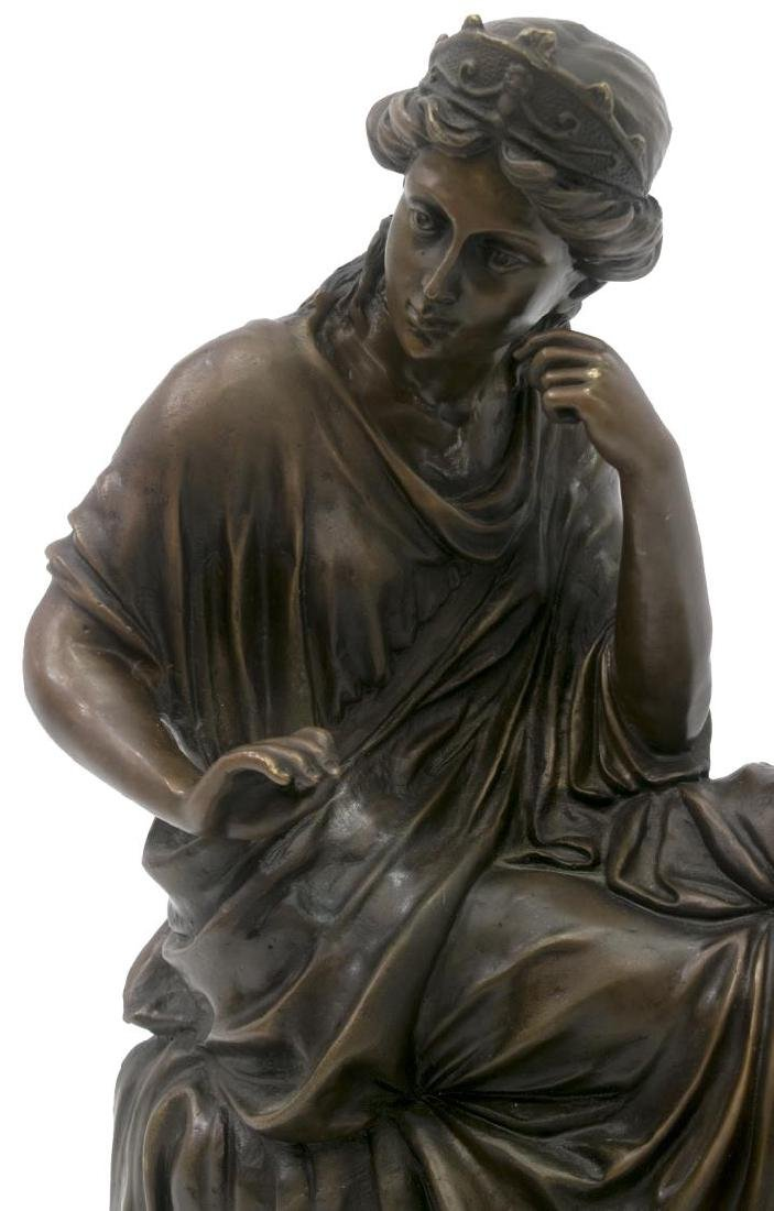 PATINATED BRONZE FIGURE, SEATED CLASSICAL BEAUTY - 2