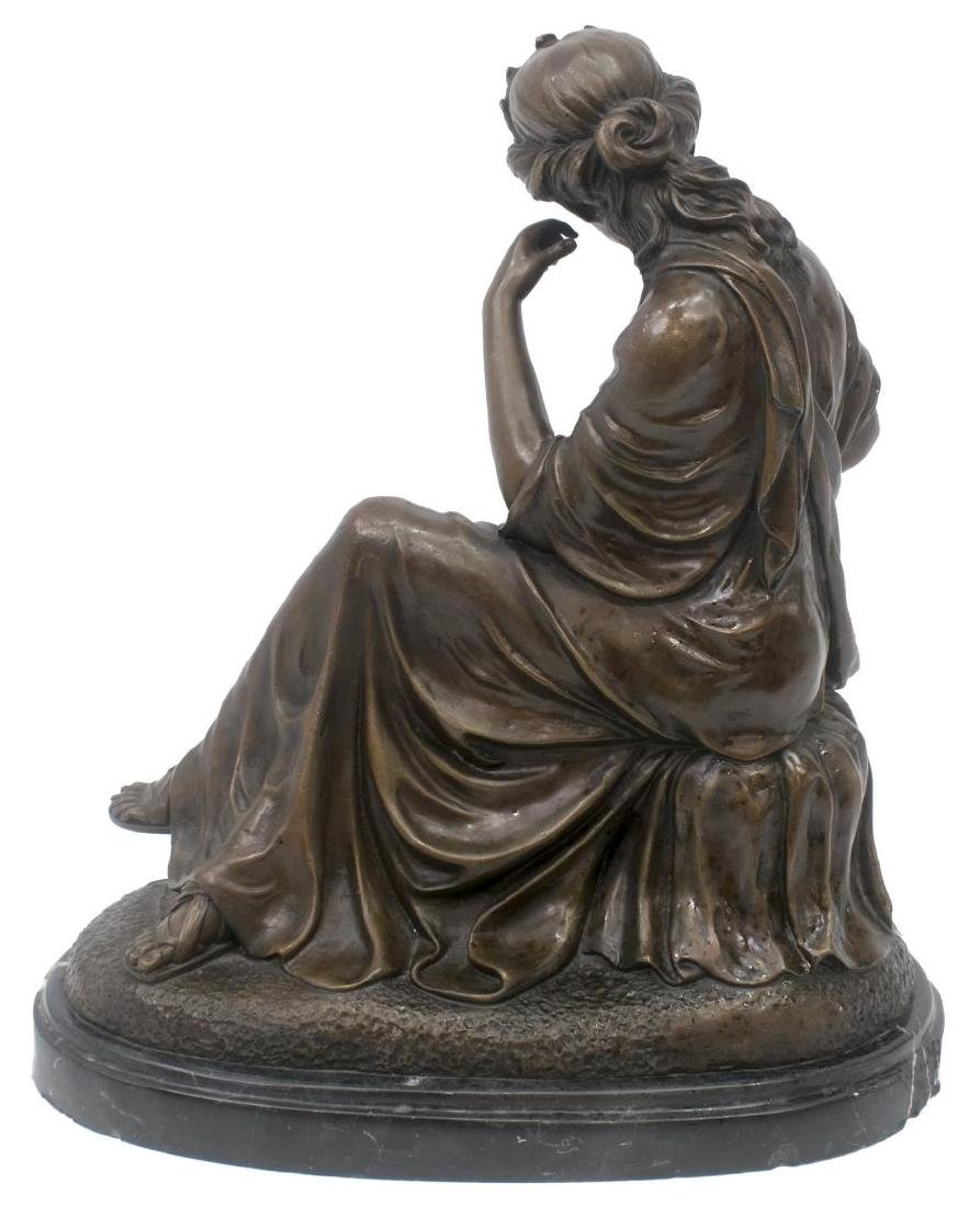 PATINATED BRONZE FIGURE, SEATED CLASSICAL BEAUTY - 4