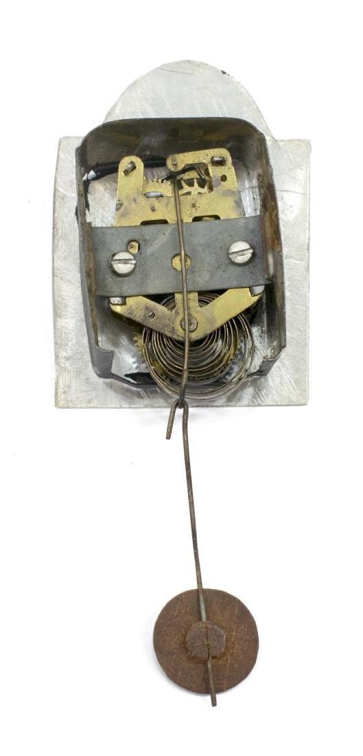 ANTIQUE POLYCHROME METAL TRAVELING CLOCK PEDDLER - 5