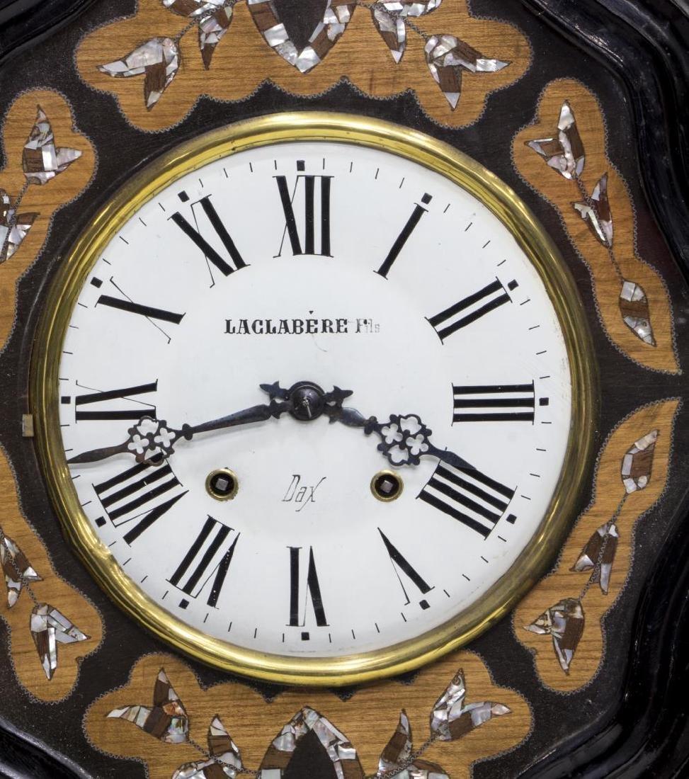 NAPOLEON III EBONZIED & INLAID SHAPED WALL CLOCK - 2