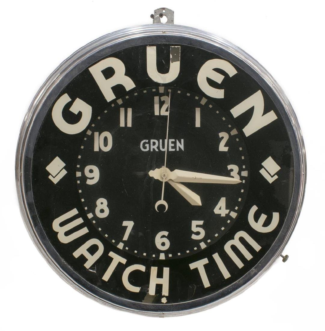 GLO-DIAL GRUEN WATCH CO. NEON & CHROME CLOCK