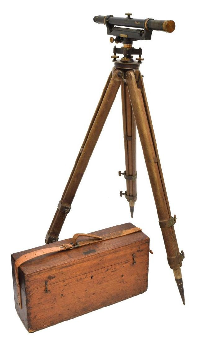 BUFF & BUFF SURVEYORS TELESCOPE, TRIPOD, ORIG BOX