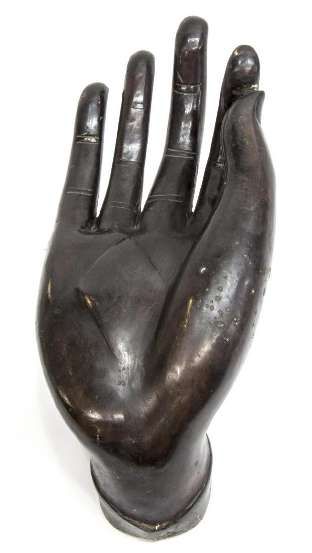 MONUMENTAL BRONZE HAND OF BUDDHA, VITARKA MUDRA