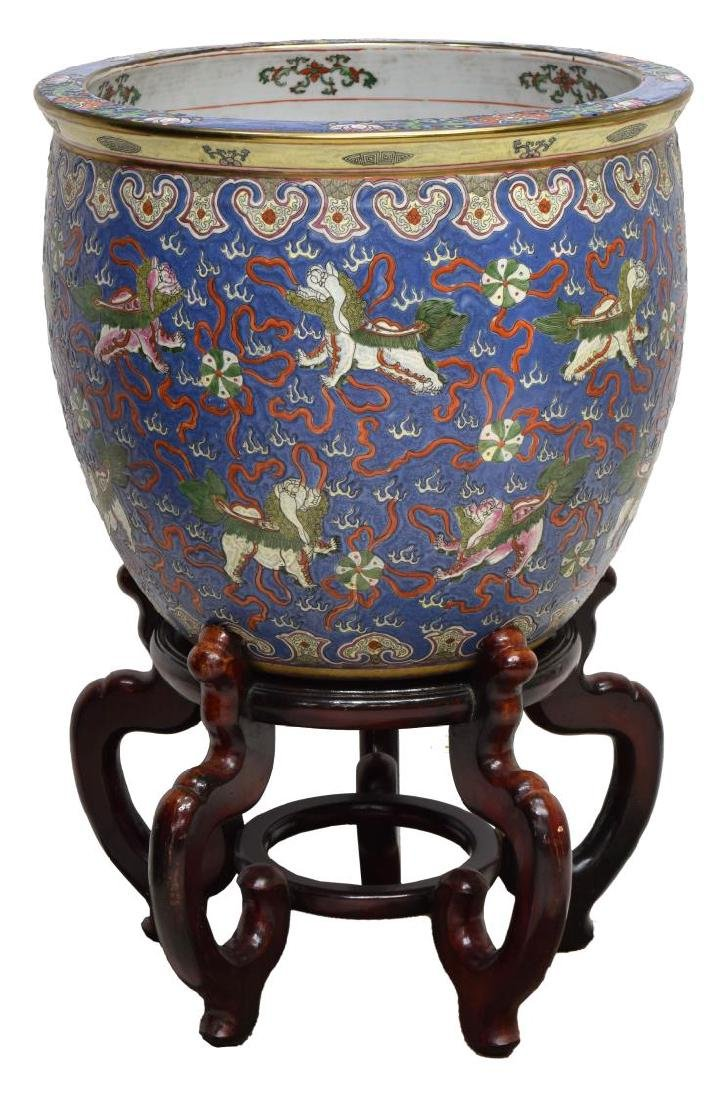 CHINESE FAMILLE ROSE PORCELAIN FISH BOWL, FU LIONS - 2
