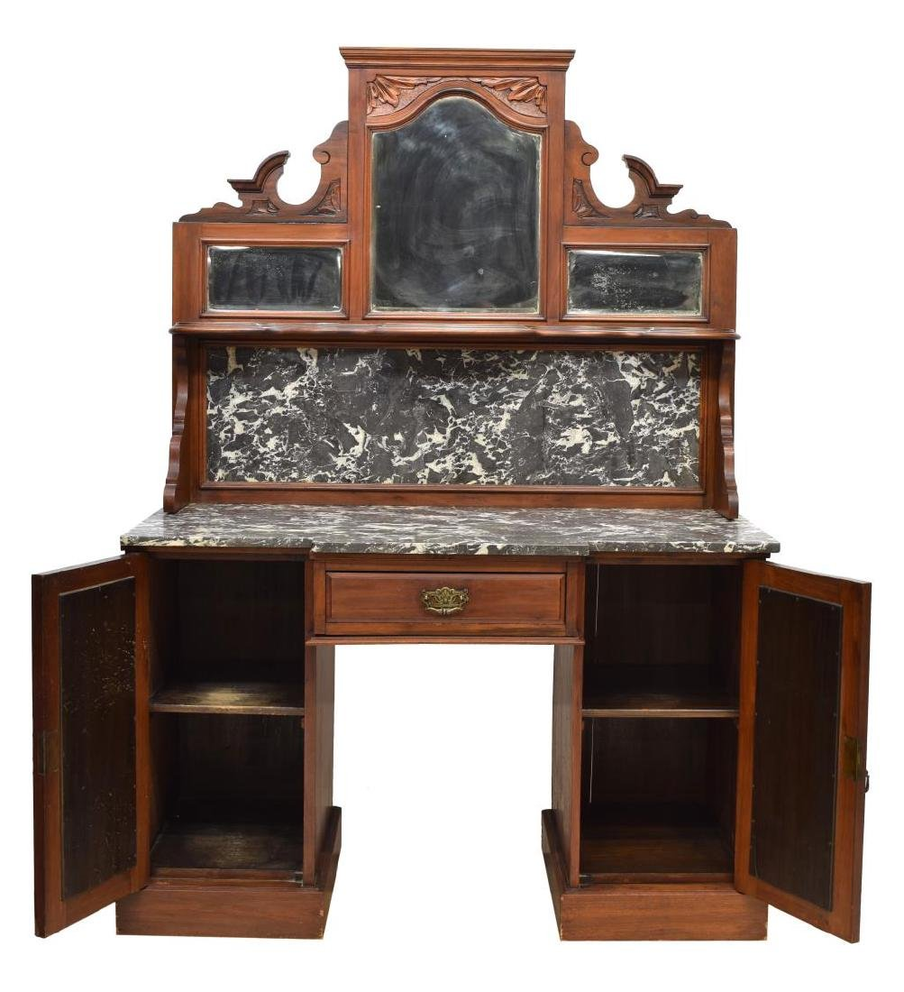 VICTORIAN MIRRORED MARBLE BACK & TOP DRESSER - 2